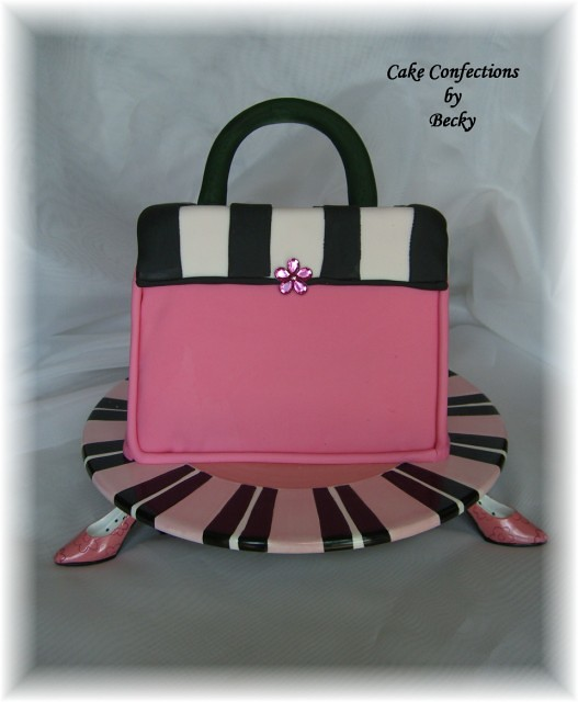 Pink Black and White Purse Large Web view
