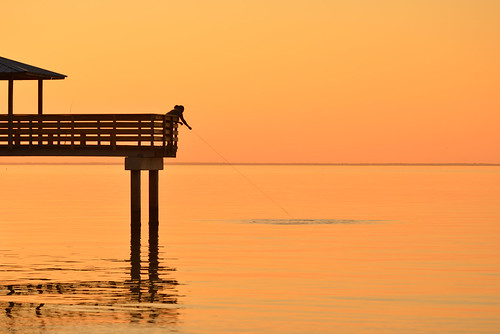 alabama mobilebay sunset travel fishing fisherman nikon d800 santocommarato silhouette water pier orange