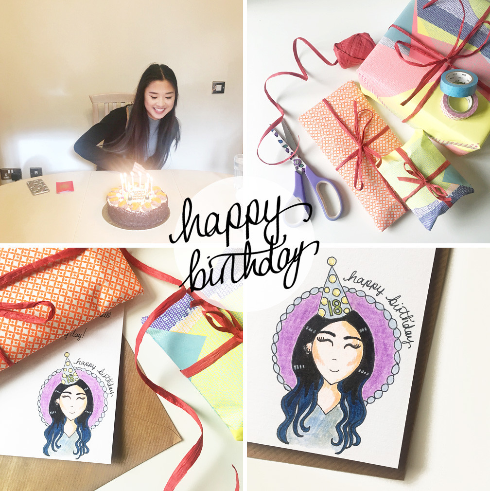 Becky birthday illustration presents
