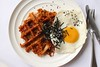 Waffled kimchi fried rice with a sunny side up