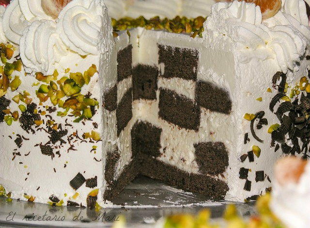 tarta damero de chocolate y queso 2