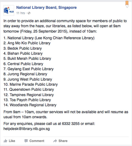 National Libraries to open earlier. Singapore Haze 2015
