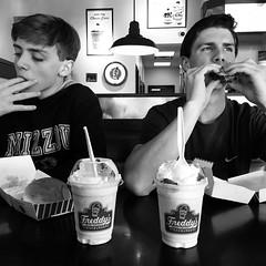 Saturday at the burger joint.