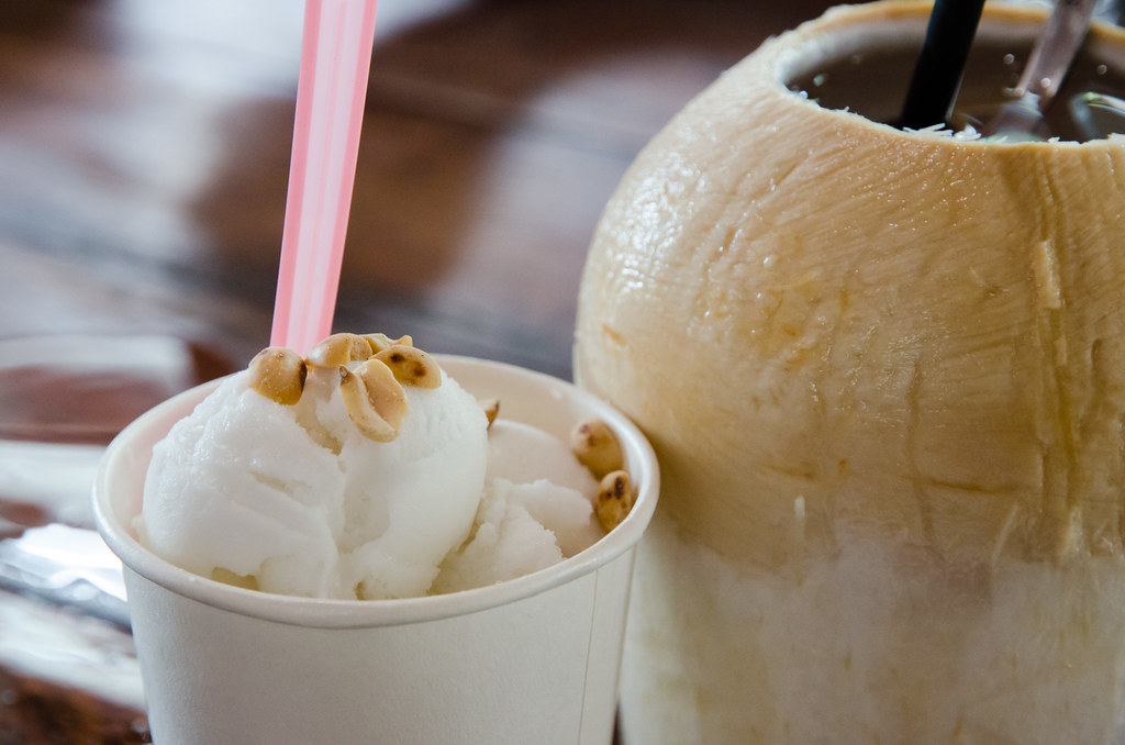 Coconut ice cream with peanuts at Busy Bodhi Cafe, Penang