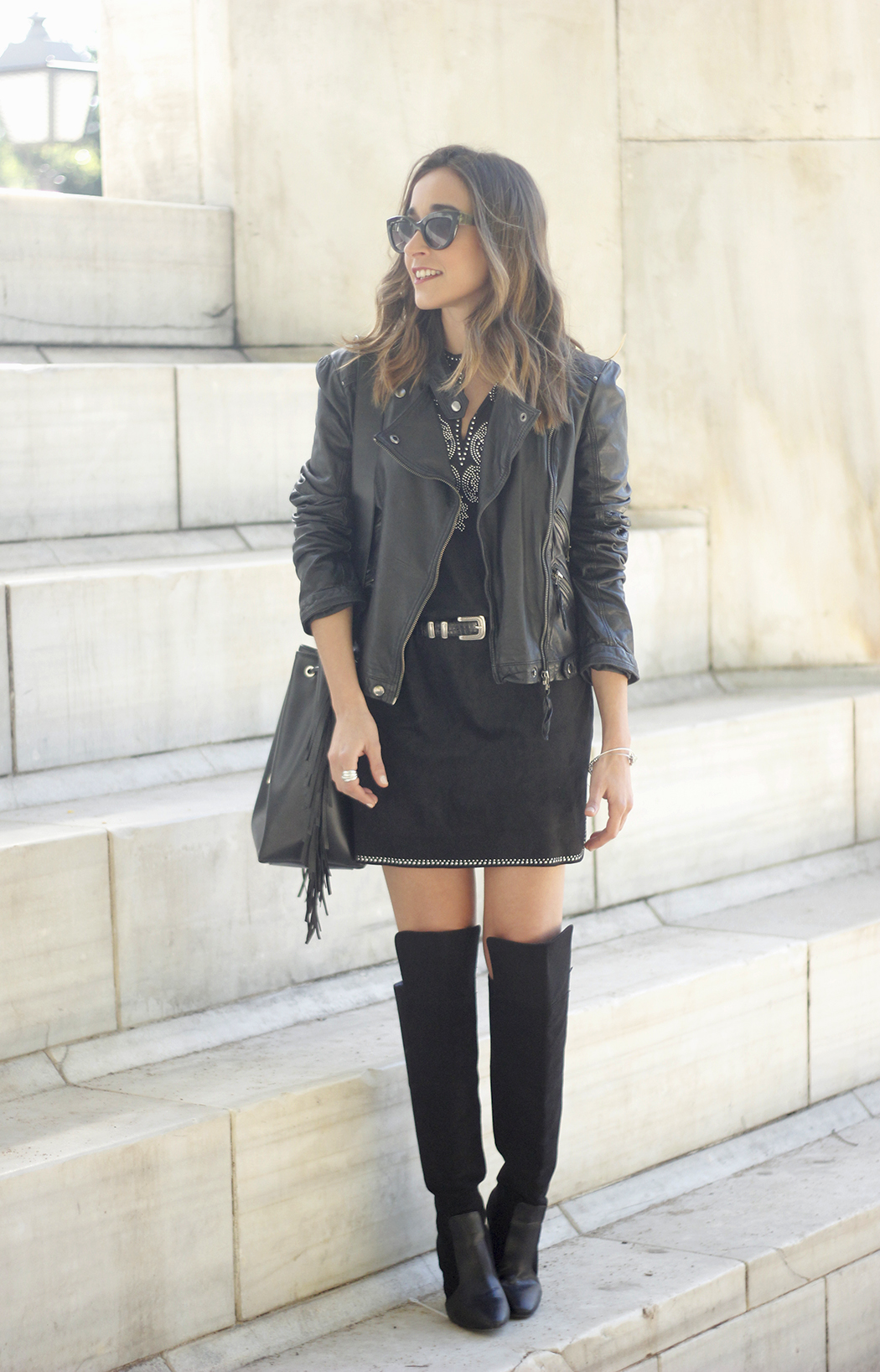 Black Leather jacket With Suede Black Dress Over the knee boots01