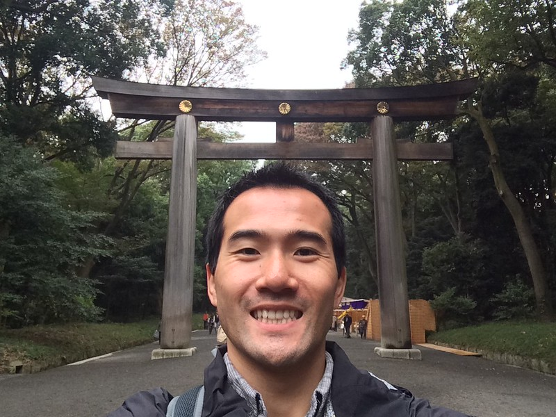 Selfie with Torii gate at Meiji Shrine.