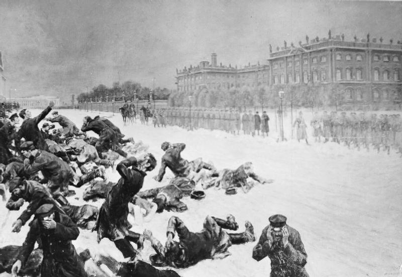 Artistic impression of Bloody Sunday in St Petersburg, Russia