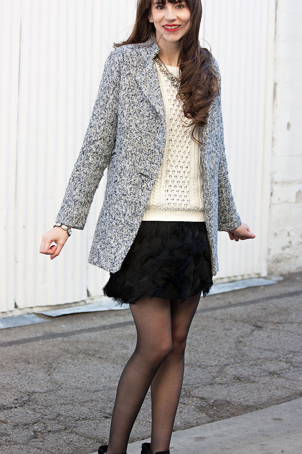 Feathery Skirt, Metallic Tweed Jacket, Cable Knit Sweater