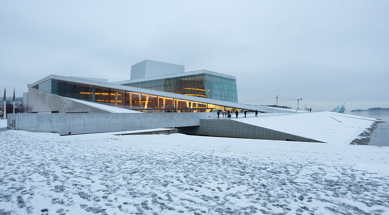 Oslo Opera House in the Snow and Rain