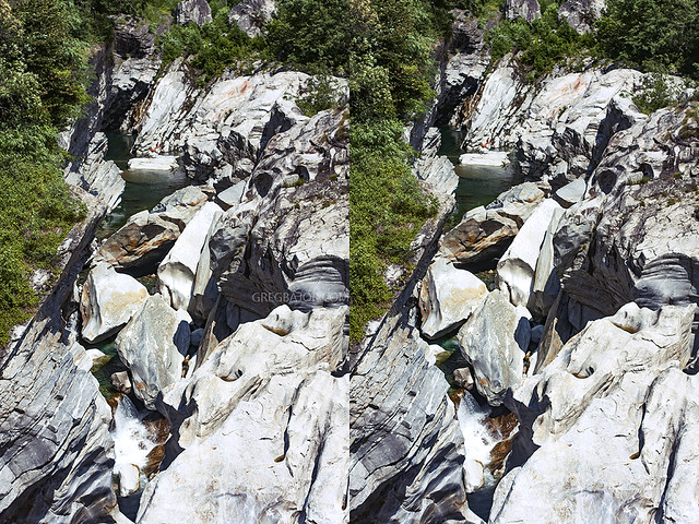 3D image of Maggia Schluch (Valle Maggia), Ticino, Switzerland.