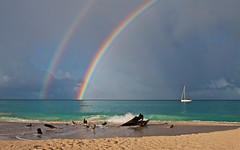 Rainbow over Ffreyes Beach