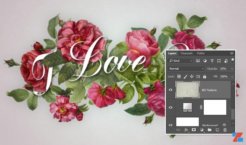 Hướng dẫn tạo hiệu ứng chữ hoa hồng trong Photoshop