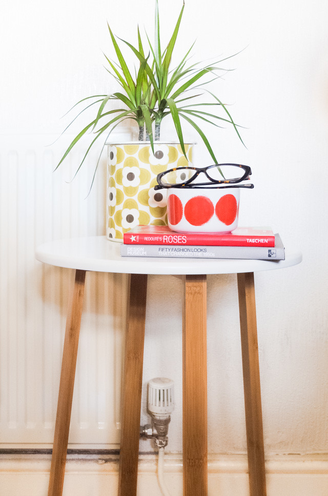 side table with plant and books