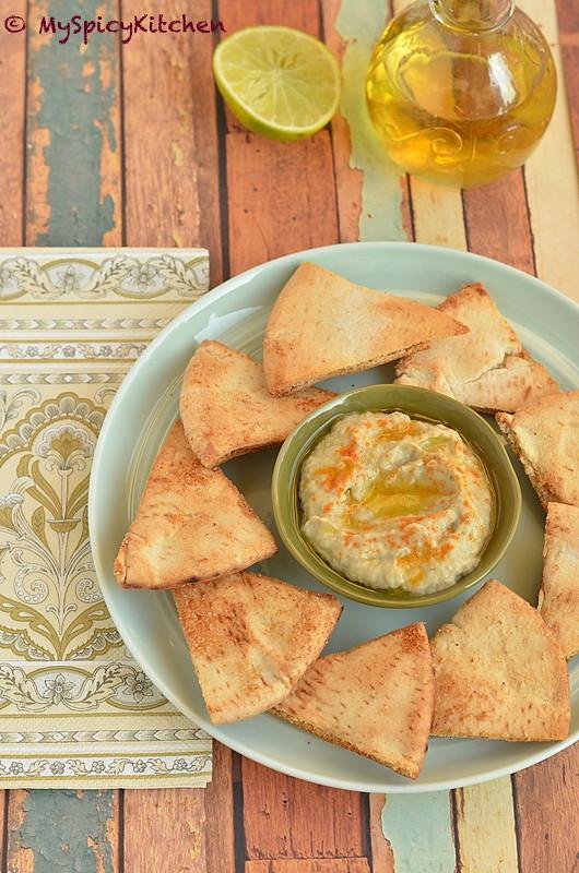 Baba Ganoush with Pita Chips – MySpicyKitchen