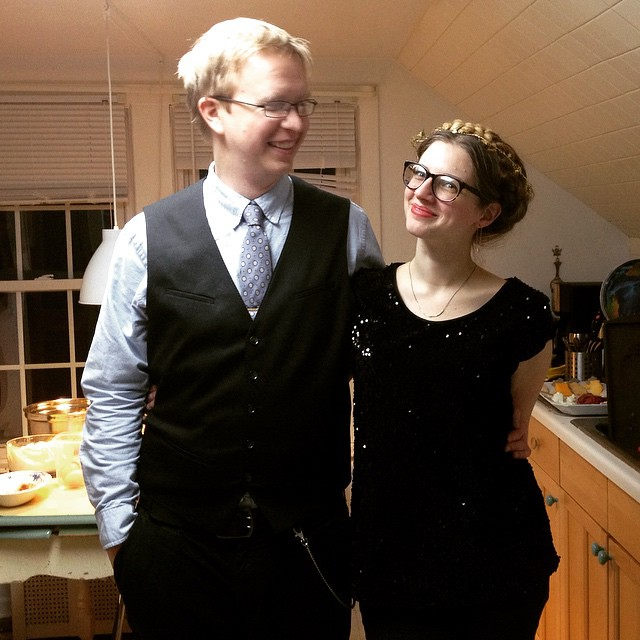 #tbt New Year's Eve. Impromptu get together, kitchen full of food and dishes, dressing up, faded lipstick. Good times.