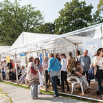 Waiting in anticipation | Queuing for your next Book Festival event's not so bad when the sun's out  © Alan McCredie