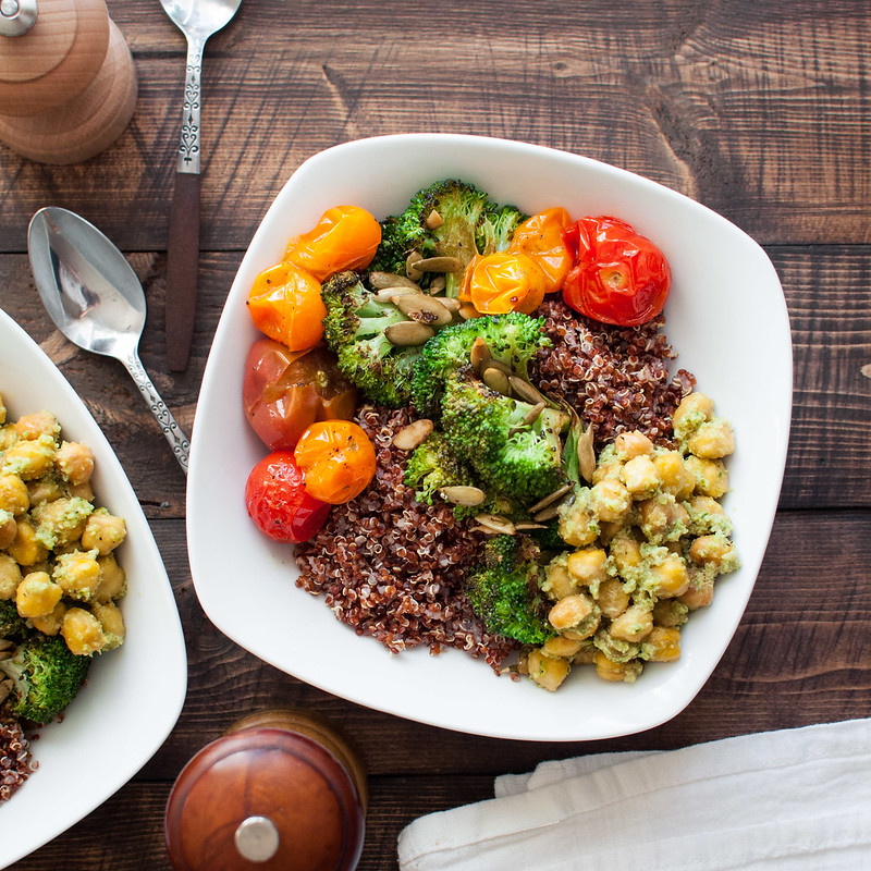 Spicy Italian broccoli quinoa bowls for a meatless, protein-..