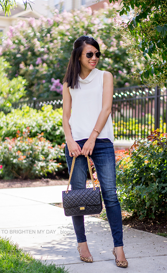 white cowl sleeveless top, jeans, leopard pumps