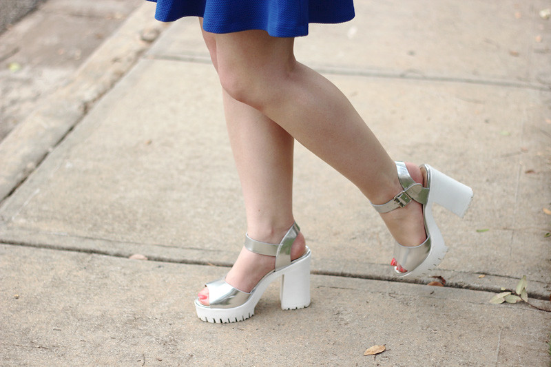 90s Style Chunky Silver Heels with White Soles