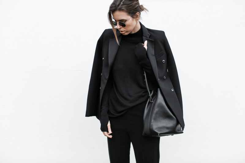 Ellery double-breasted blazer, all black outfit, street style, bucket bag, workwear, fall, MODERN LEGACY blog (1 of 1)