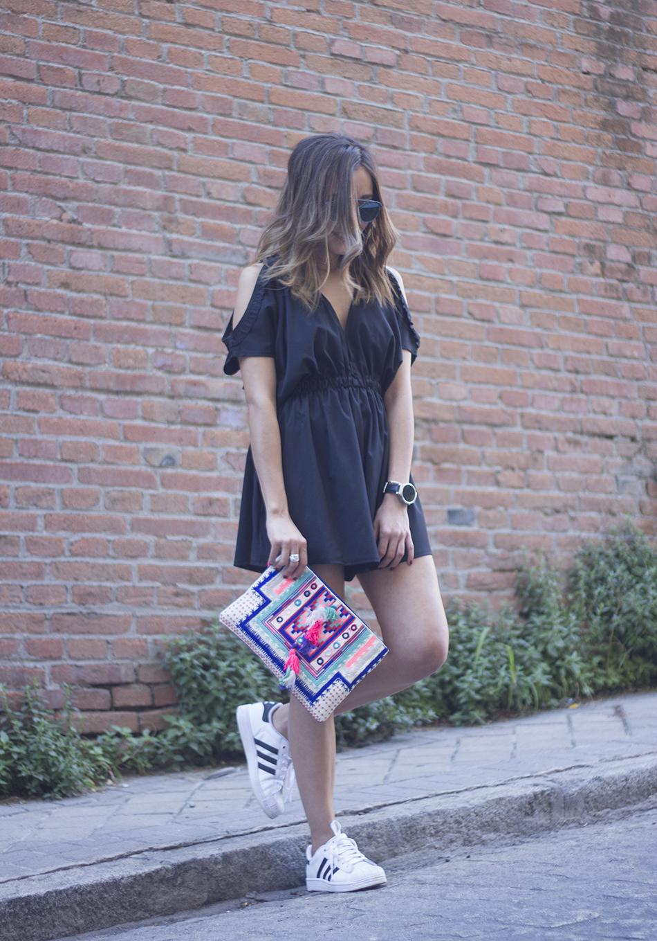 Black Jumpsuit With Adidas SuperStar03