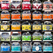 Twentyfive Red, Orange, Yellow, Green and Blue VW Camper Vans by lomokev