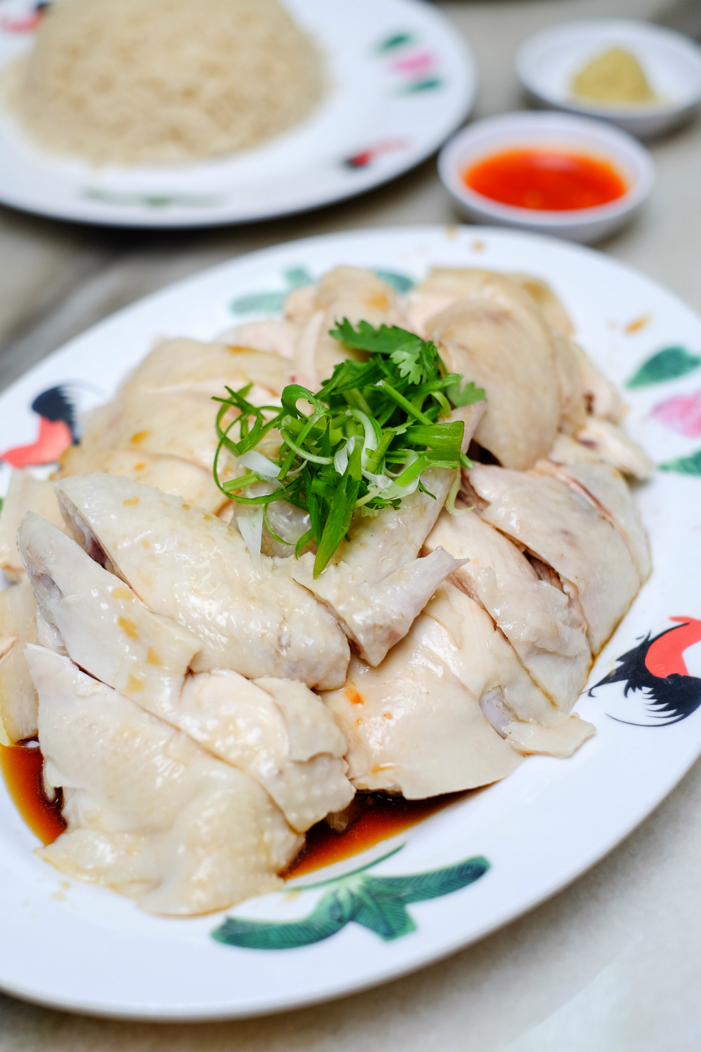 Wee Nam Kee Chicken Rice's poached chicken close up