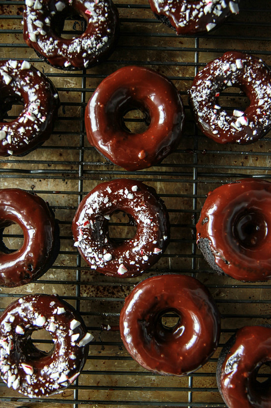 Chocolate Mint Candy Cane Donuts- Vegan Gluten Free
