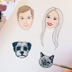 Monday morning in the studio. I'm having so much fun painting this cute family!