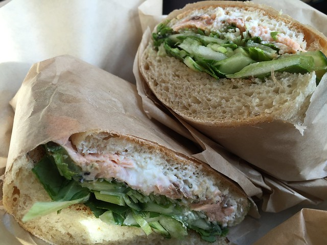 Miso-dill roasted salmon sandwich
