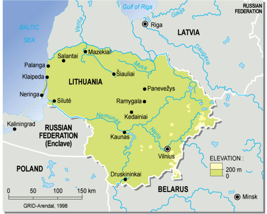 Lithuania topographic map GRIDArendal