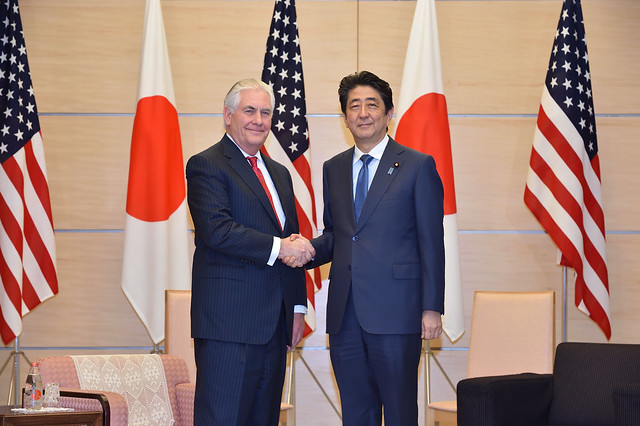 Secretary Tillerson and Japanese Prime Minister Abe Pose for a Photo Before Their Meeting in Tokyo