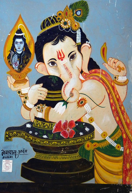 A painting of Ganesh, the elephant-headed god in Bundi, India