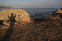 Shadow selfie at sunrise up above the Pacific Ocean/Ribera rocks
