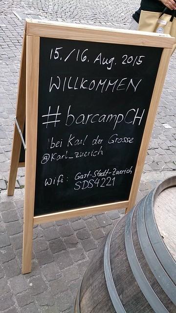 Aufsteller #barcampCH Rückseite