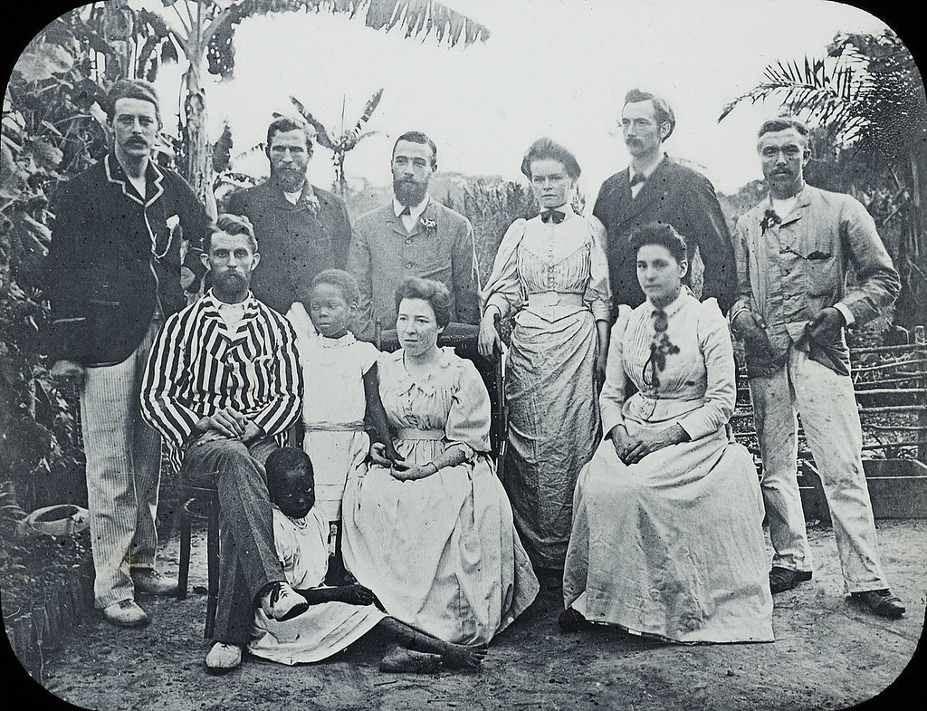 A small group of missionaries from the Congo Balolo Mission in 1891. The group comprises nine smartly dressed men and women