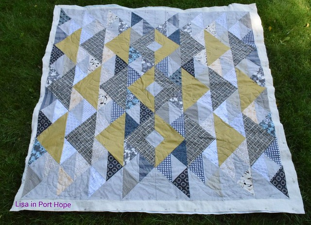 Yuma quilt top half finished. Free pattern from Gotham Quilts.