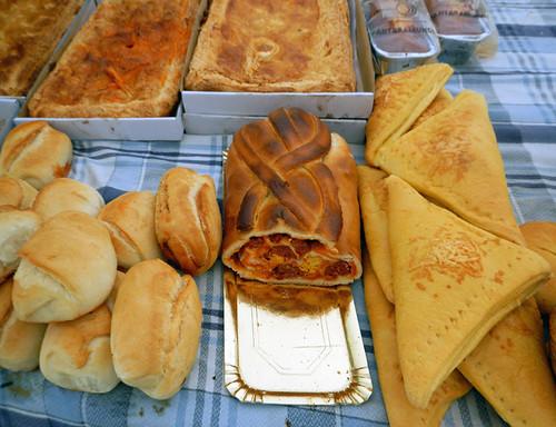 Bread for sale in the Ribadesella market, Spain