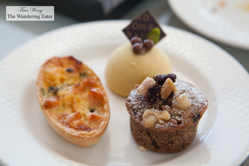 Salmon & spinach quiche, fig & walnut financier, Spicy pumpkin mousse