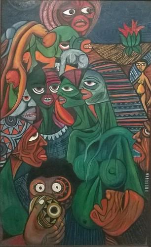 """Jännittävä teos kansallisesta taidemuseosta Maputosta. Tekijä: Malangatana. """"Criança essa permanente esperença"""" - 1981. Öljyteos kankaalle. 78x70cm. Exposição do Museu Nacional de Arte, Maputo, Moçambique."""