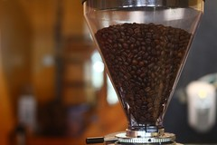 Coffee Beans in Glass Funnel