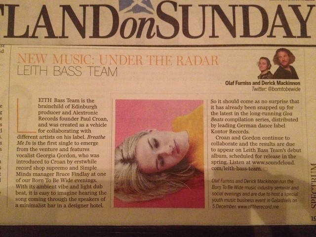 Olaf Furniss and Derick Mackinnon, Scotland On Sunday, Spectrum Magazine, 22 November 2015, Leith Bass Team