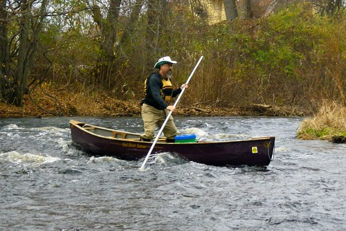 Chuck (Riverstrider) in the riffles in the restored river channel