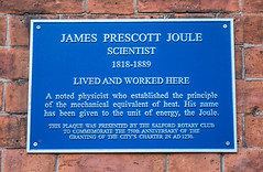 Photo of James Prescott Joule blue plaque