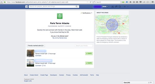 Paris Terror Attacks - Facebook Safety Check