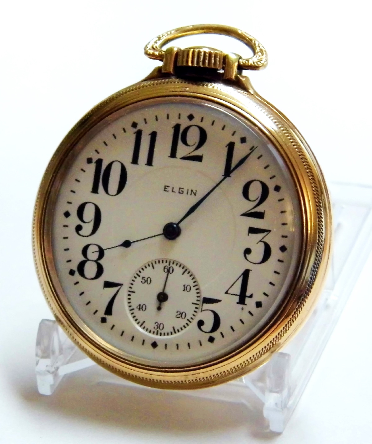 Vintage Elgin National Watch Company Pocket Watch, 17 Jewels, Lever Set, 10 K Gold Filled Open Face Case Marked 'Hamilton Keystone Watchcase, J. Boss, Railroad Model', Circa 1918. Credit Joe Haupt
