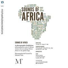 "This exhibition opens tonight. If in London, please come and see it. #Repost @michaeltubescreations  ・・・ It's less than 24 hrs to the opening and private view of the ""Sounds of Africa"" photographic exhibition. Sometimes, great occasions develop into treas"