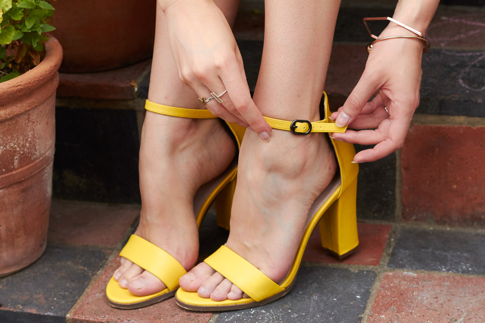 bright yellow heeled sandals next
