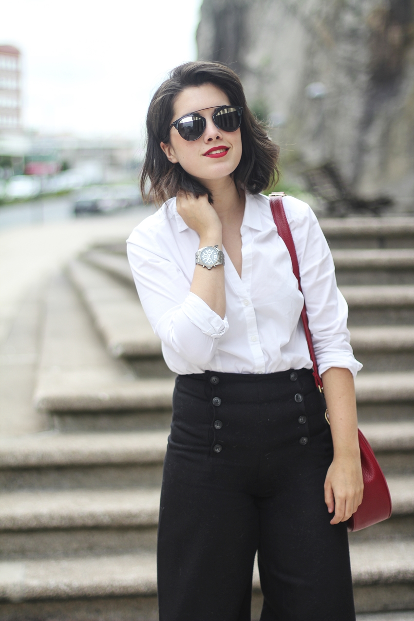 look working girl with black cullotes and white blouse dior so real myblueberrynightsblog
