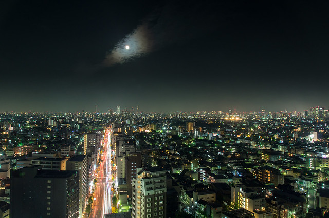 Tokyo city under the supermoon